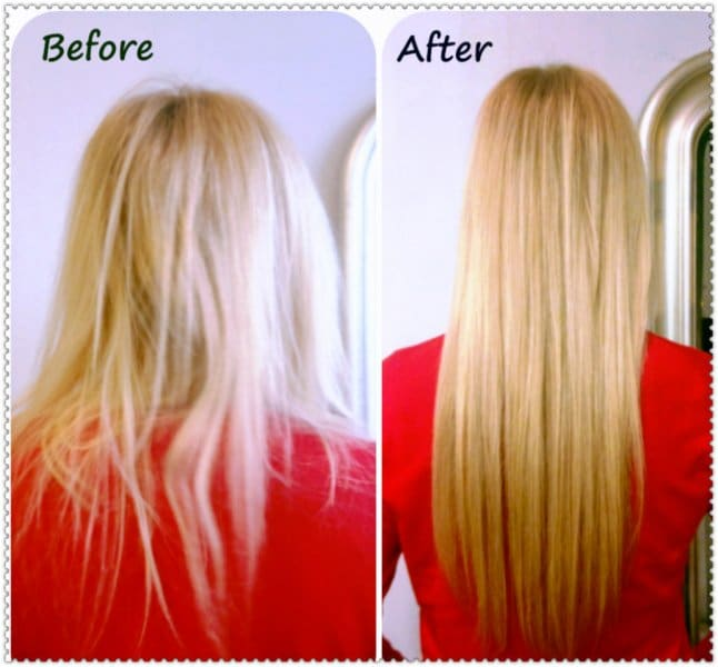 Blonde fusion hair extensions applied by Daria at Chicago Hair Extensions Salon