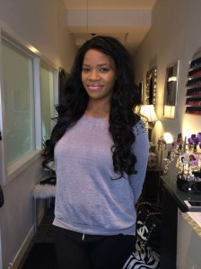 sew-in hair extensions at salon