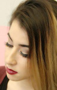 Long hair and eyelashes