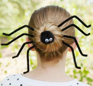 spider bun halloween hairstyle